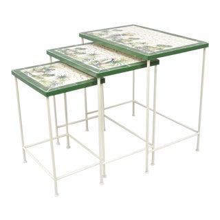 Parrot Motif Mosaic Top Nesting Tables - Set of 3