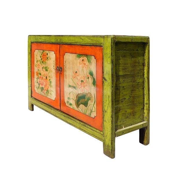 Lime Green & Orange Flower Side Table or Cabinet - Image 4 of 6