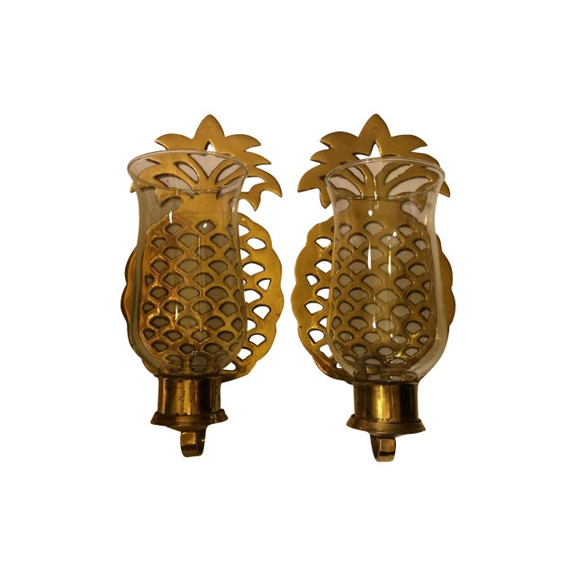Brass Pineapple Wall Sconce Candleholders - Image 1 of 9