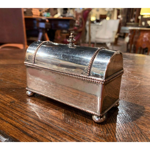 This elegant antique inkwell was created in France circa 1880, made of copper and silver plated, the trunk shape desk...