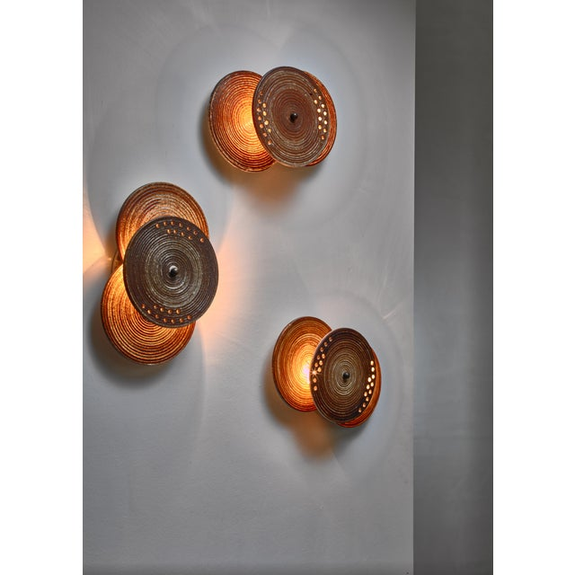 Set of Three Axella Stentøj Three Disc Ceramic Wall Lamps, Denmark, 1960s For Sale - Image 4 of 6