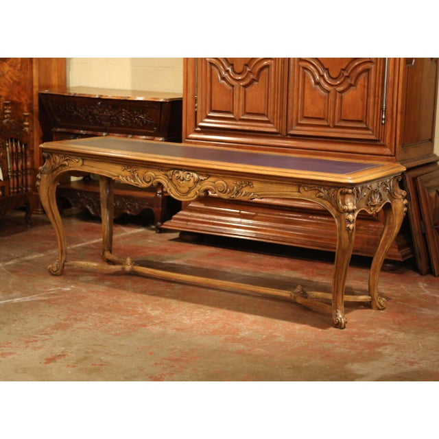Late 19th Century Large 19th Century French Louis XV Carved Walnut Console Desk With Leather Top For Sale - Image 5 of 13