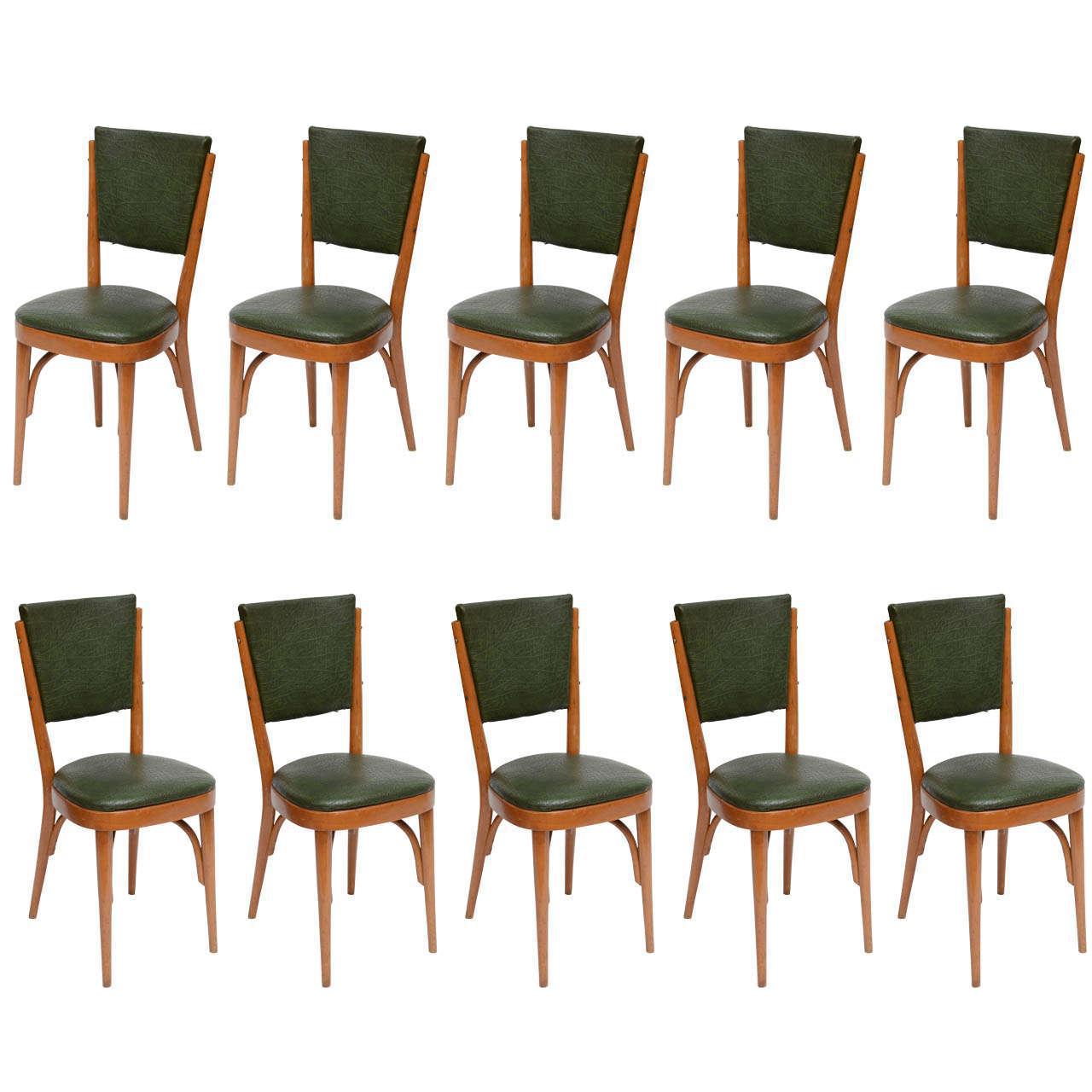 Italian Modernist Bistro Chairs, Set Of 10