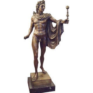 19th Century Italian Male Nude Bronze Statue For Sale