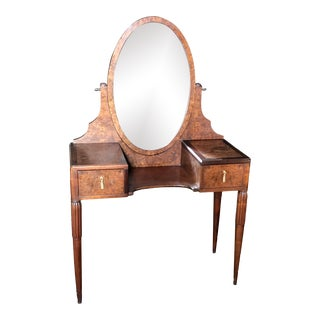 French Burled Walnut Dressing Table Vanity With Beveled Mirror For Sale