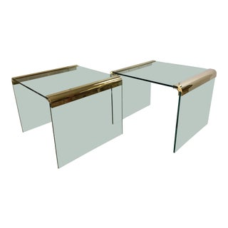Glass and Brass Waterfall Tables - A Pair For Sale