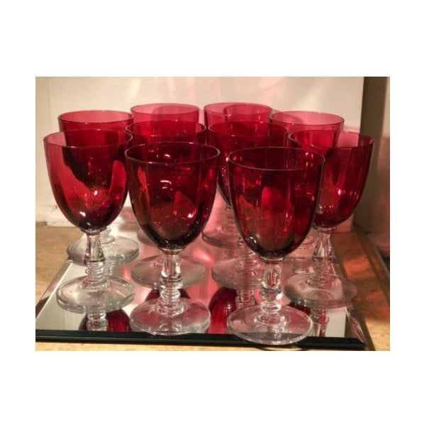Unusual Set of 8 Heavy Antique Cranberry Red Glass Wine Stems For Sale - Image 4 of 4