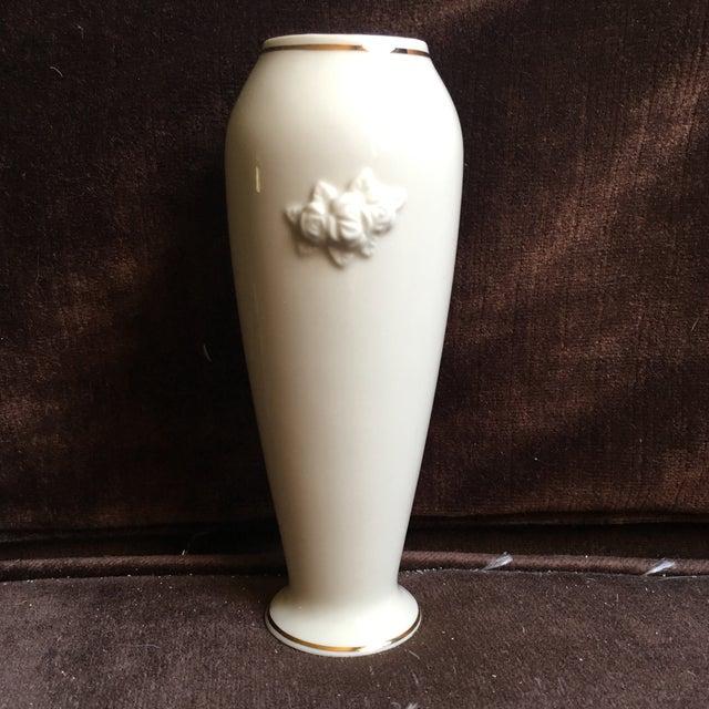 1980s 1980s Shabby Chic Lenox Ivory Porcelain Rosebud Vase For Sale - Image 5 of 9