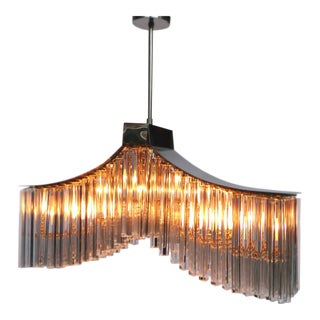 Midcentury Murano Crystal Glass Chandelier by Camer For Sale