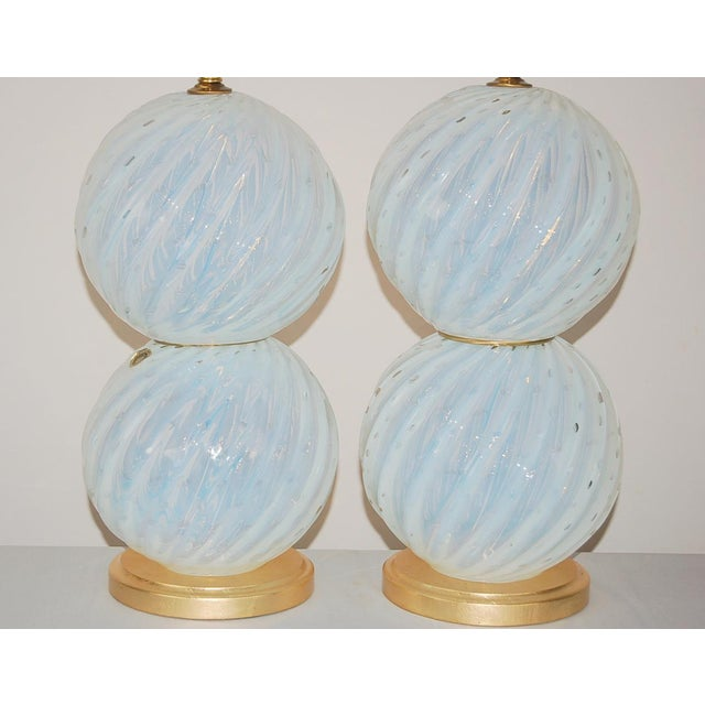 Contemporary Vintage Murano White Opaline Glass Table Lamps For Sale - Image 3 of 12
