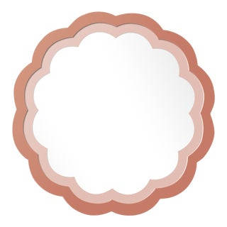 Fleur Home x Chairish Audobon Peony Circle Mirror in Red Earth, 24x24 For Sale