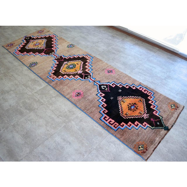 Hand Knotted Natural Colors Full Tribal Design Runner Rug Wide Runner - 3′6″ X 11′4″ For Sale - Image 11 of 11