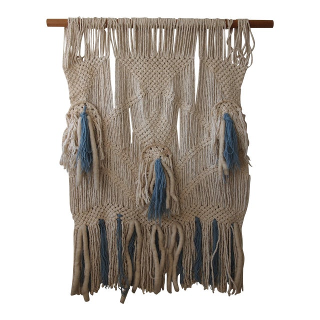 Vintage Woven Wall Hanging For Sale