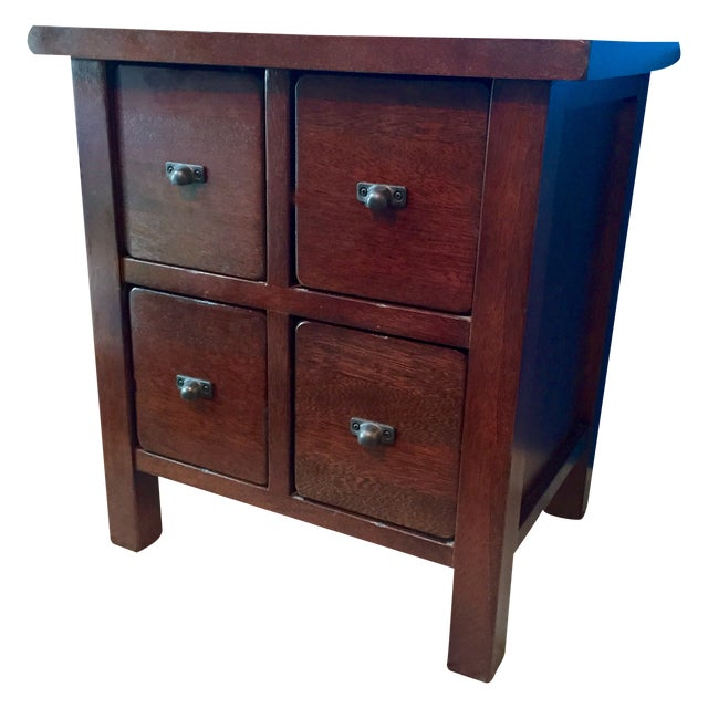 Mahogany Wood 4-Drawer Apothecary Side Table - Image 1 of 5