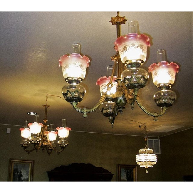 19c Pair of Bradley and Hubbard Gold Leaf 4 Arm Chandeliers For Sale - Image 11 of 13