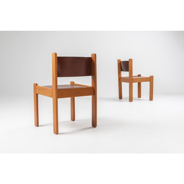 Oak & Leather Dining Chairs For Sale - Image 6 of 12