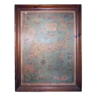"Vintage ""Cape Cod"" Framed Map For Sale"