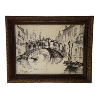 1970s Vintage Venice Signed & Framed Modernist Drawing For Sale