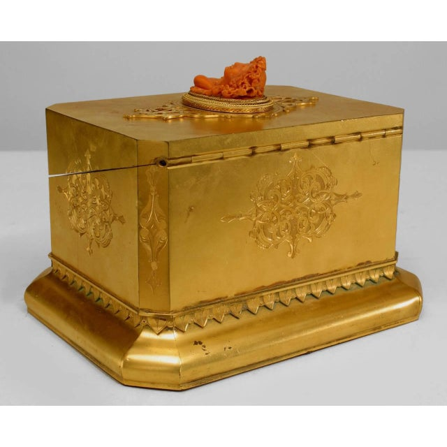19th century French Louis XV style rectangular bronze dore box with etched designs and a coral cameo top depicting a woman.