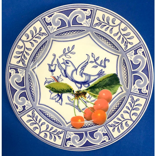 Italian Blue Bird Salad Plates Made in Italy Blue/White With Fruit - Set of 4 For Sale - Image 3 of 9