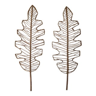 Mid-Century Leaf Form Wall Sculptures - a Pair For Sale