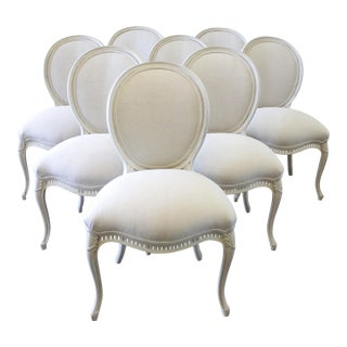 Louis XV Style Painted and Upholstered Dining Chairs - Set of 8 For Sale