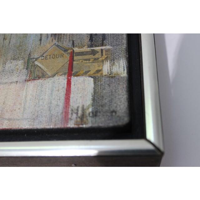 "Mid-Century M. Kaplan ""Brooklyn Bridge"" Oil on Canvas Painting For Sale - Image 9 of 11"