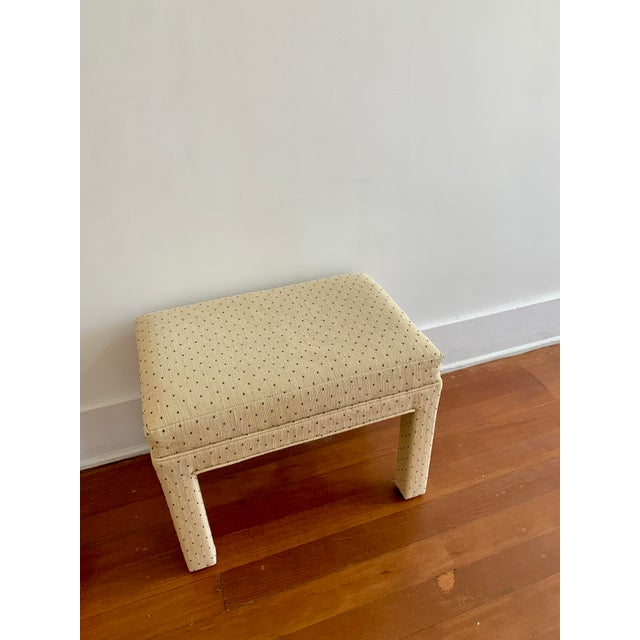 Textile Parsons Style Polka Dot Upholstered Bench - One Available For Sale - Image 7 of 10