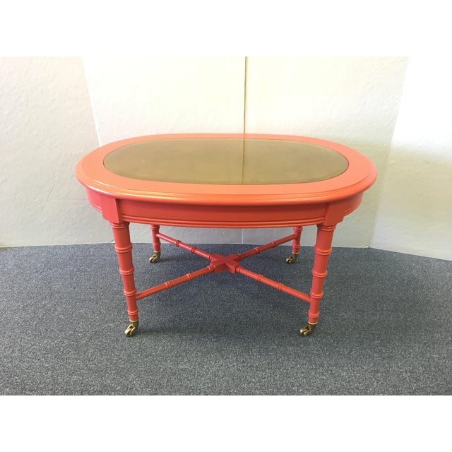 Orange Classic 1960's Oval Faux Bamboo and Cane Regency Revival Table For Sale - Image 8 of 8