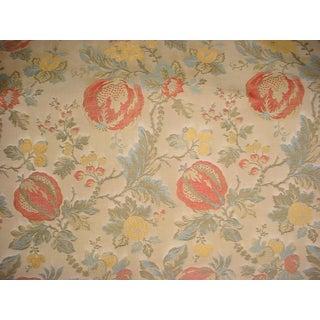 Lee Jofa Marlowe Weave Scarlet Floral Brocade Upholstery Fabric- 5 1/4 Yards For Sale