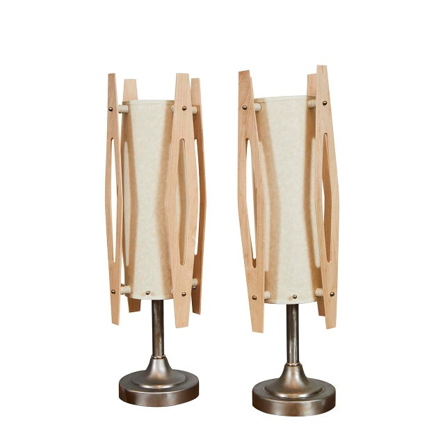 Metal Pair Mid Century Modern Table Lamps For Sale - Image 7 of 7