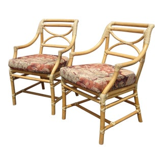 Pair of Vintage McGuire Mid Century Bamboo Side Chairs W Rose Floral Fabric For Sale