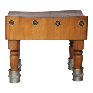 Unusual Antique American Butcher Block Table with Adjustable Height