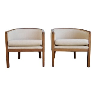 Barrel Back Lounge Chairs - a Pair For Sale