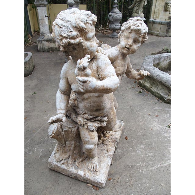Gray Cast Stone Cupids Statue From France For Sale - Image 8 of 10