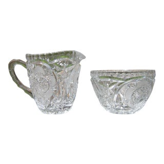 1940s Vintage Rose Intaglio Sugar Bowl and Creamer Set- 2 Pieces For Sale