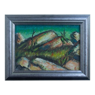 Late 20th Century Expressionist Style Landscape Oil Painting by Joe Eger, Framed For Sale