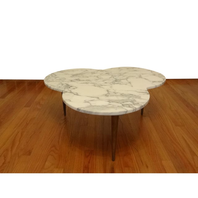 Mid-Century Modern Marble Clover Coffee Table - Image 5 of 8