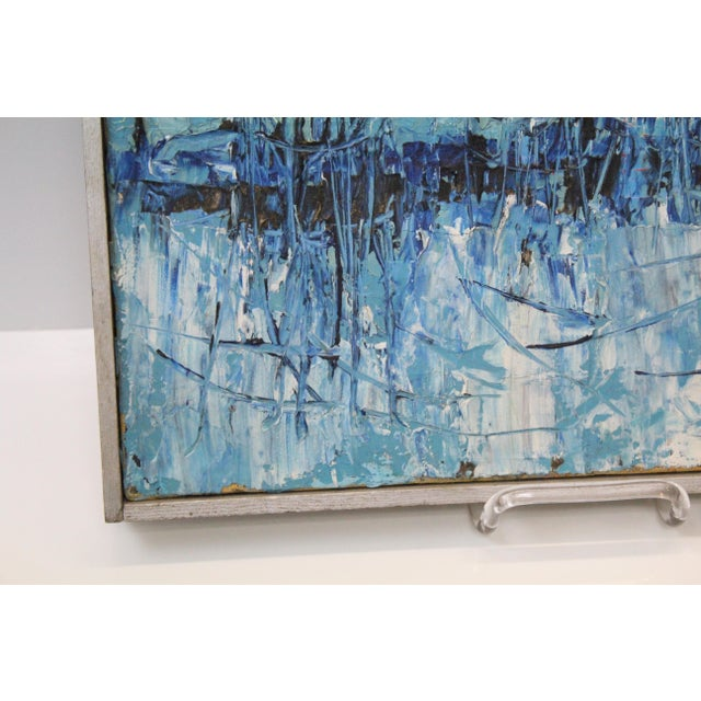 """Abstract Vintage Mid-Century """"Winter Woodlands"""" Abstract Oil Painting For Sale - Image 3 of 6"""