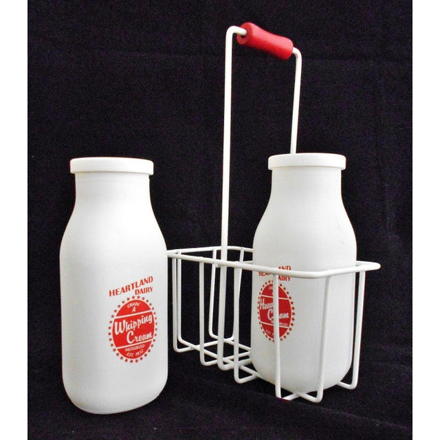 Retro White Glass Cream Bottles and Metal Carrier - Image 4 of 10