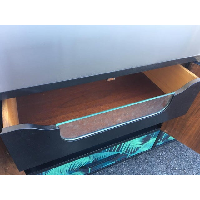 Mid-Century Palm Leaf Print Credenza - Image 4 of 5