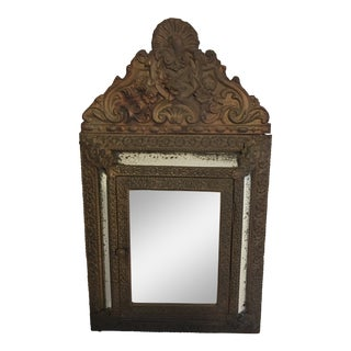 20th Century Victorian Pressed Metal Mirrored Wall Cabinet For Sale