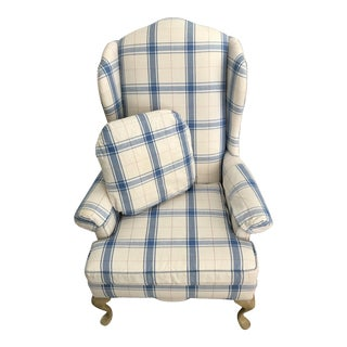 1980s Cottage North Hickory Chair Blue and White Plaid Wingback Chair For Sale
