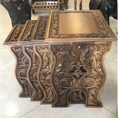 Rustic Walnut Carved Nesting Tables - Set of 4 For Sale - Image 3 of 5
