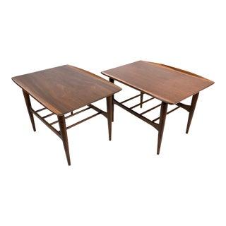 Mid Century Modern Surfboard Walnut Side Tables by Bassett For Sale