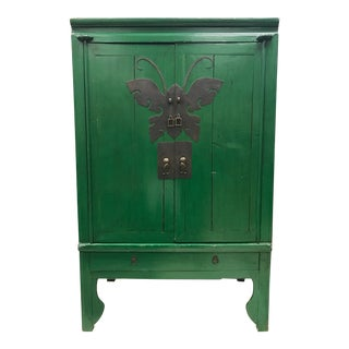 Asian Style Green Lacquer Armoire Cabinet For Sale