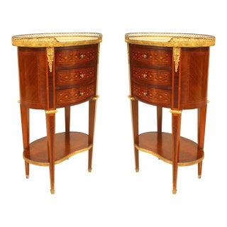 Pair of French Louis XVI Style Small Bedside Commodes For Sale