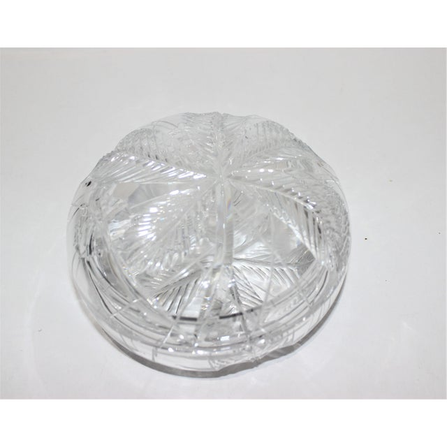 Palm Tree Lidded Box Bonbonnier in Cut Crystal For Sale - Image 10 of 11