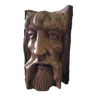 Hand Carved Tree Face For Sale