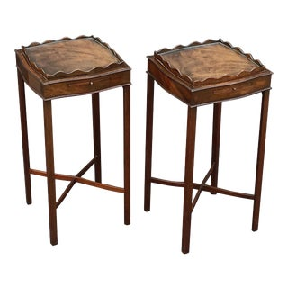 English Nightstands or End Tables with Removable Glass Tops 'Priced as Pair' For Sale